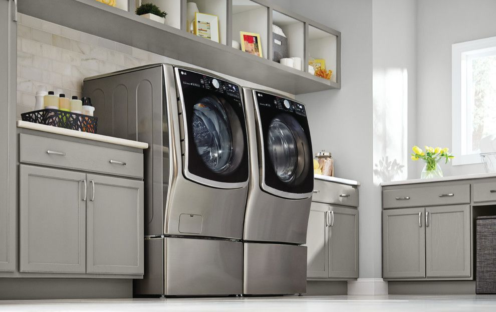 Yoiu for a Contemporary Laundry Room with a Open Shelves and Lg Electronics by Lg Electronics