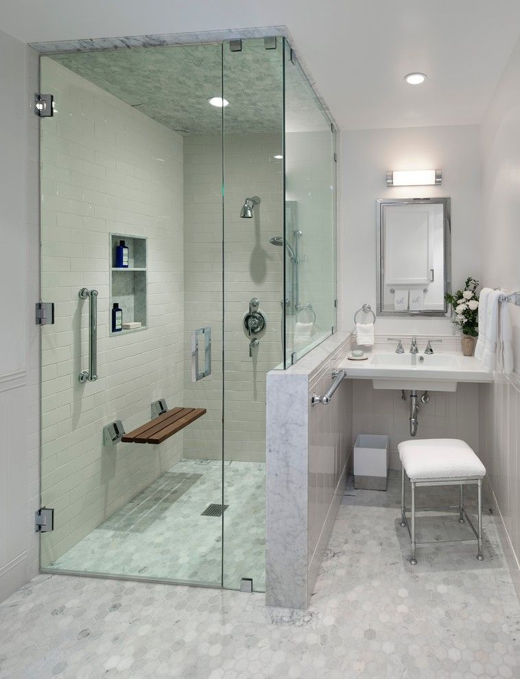 Yoiu for a Transitional Bathroom with a Recessed Lighting and Midcentury Modern
