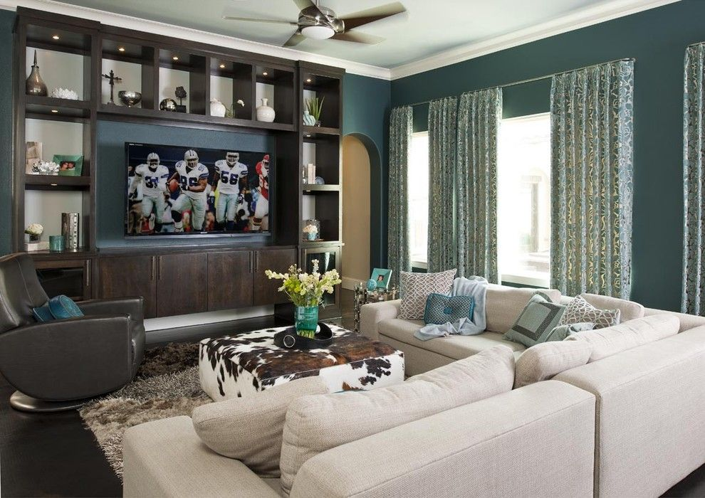 Yorktowne Cabinets for a Contemporary Family Room with a American Leather Chair and Modern Family Room by RSVP Design Services