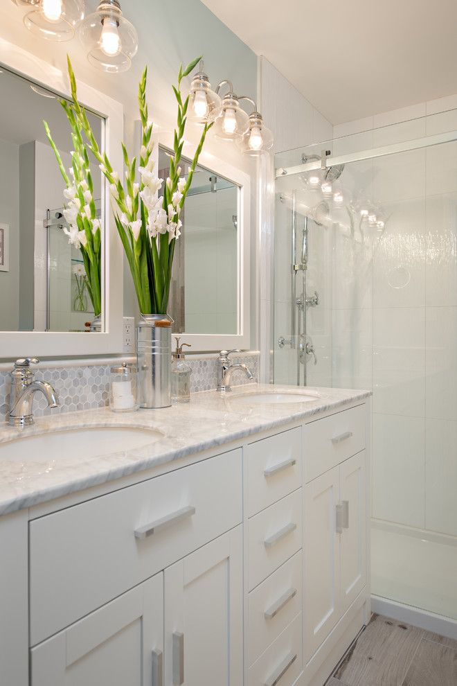 Yorktowne Cabinets for a Traditional Bathroom with a Double Vanity and Steveston Townhouse by the Spotted Frog Designs