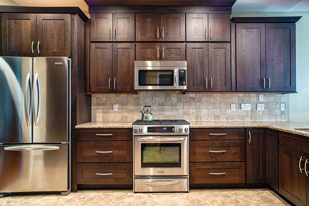 Yorktowne Cabinets for a Traditional Kitchen with a Double Door Fridge and Condo Kitchen by Borchert Kitchen & Bath