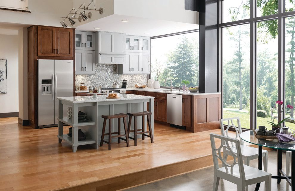 Yorktowne Cabinets for a Transitional Kitchen with a Island and Restoration Manor by Yorktowne Cabinetry