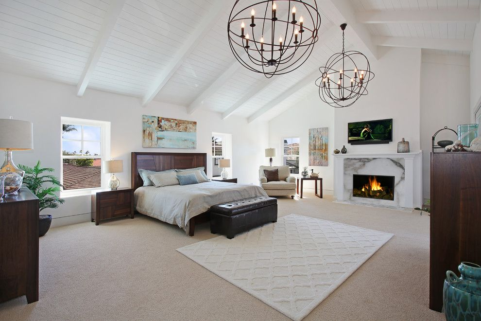 Yosemite Home Decor for a Transitional Bedroom with a Wood Headboard and via Koron by Jeff Pittman Homes