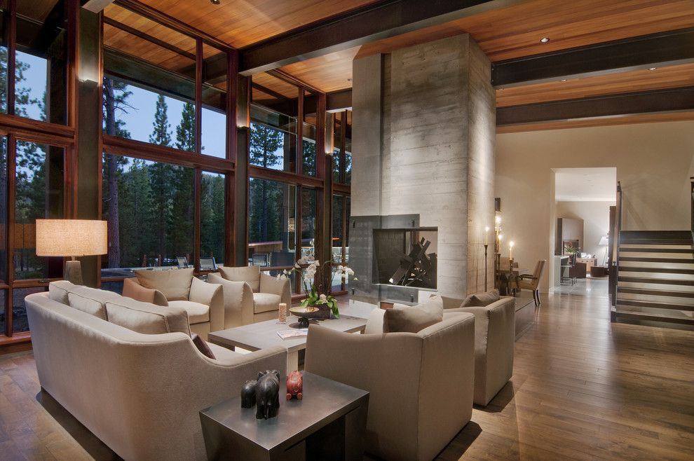 Youngs Furniture for a Contemporary Living Room with a Ceiling Lighting and Living Room by Ward Young Architecture & Planning   Truckee, Ca