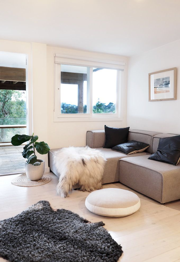 Youngs Furniture for a Modern Living Room with a Modern and My Houzz: A Minimalist Home That's Anything but Bare by Maischa Souaga Photography