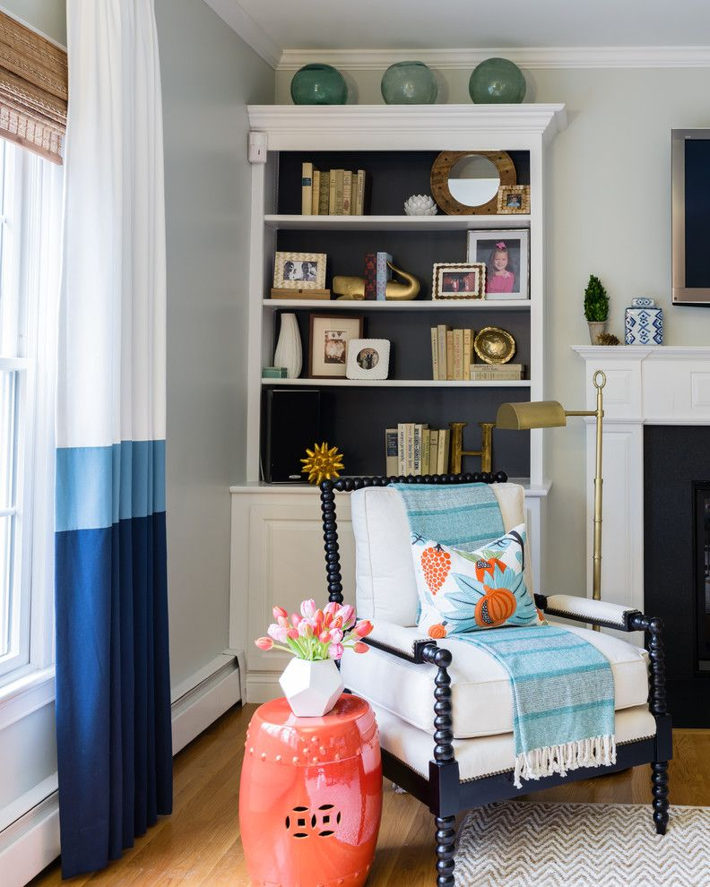 Youngs Furniture for a Traditional Living Room with a Striped Curtains and a Colorful Room for a Young Family by Dina Holland Interiors