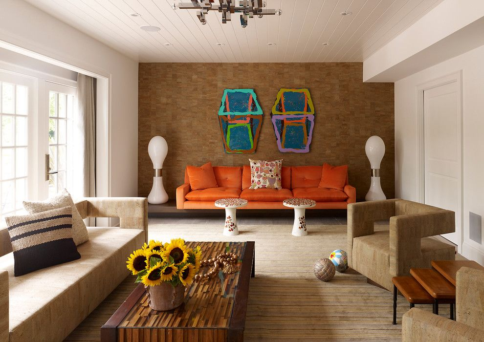 Zaneen Lighting for a Contemporary Living Room with a Orange Couch and Southampton Residence by Fox Nahem Associates