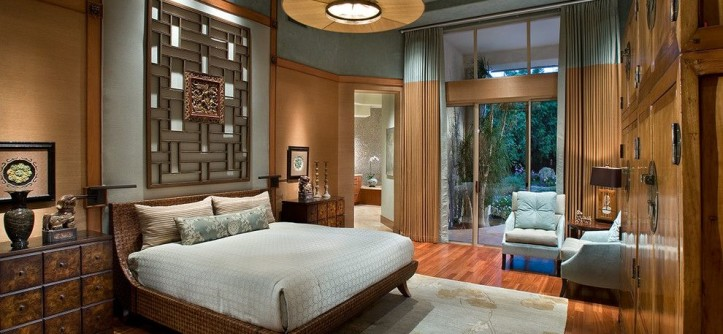 Zen Bedrooms for a Asian Bedroom with a Floor to Ceiling Windows and Luxurious Zen Resort - Paradise Valley by IMI Design, LLC