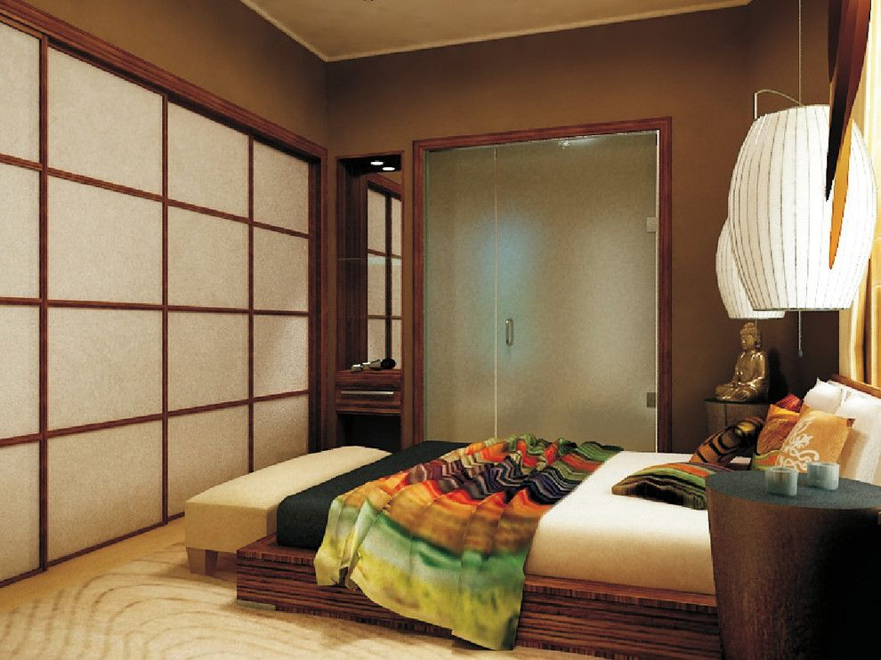 Zen Bedrooms for a Asian Bedroom with a Ombr and City Zen Space by Marie Burgos Design