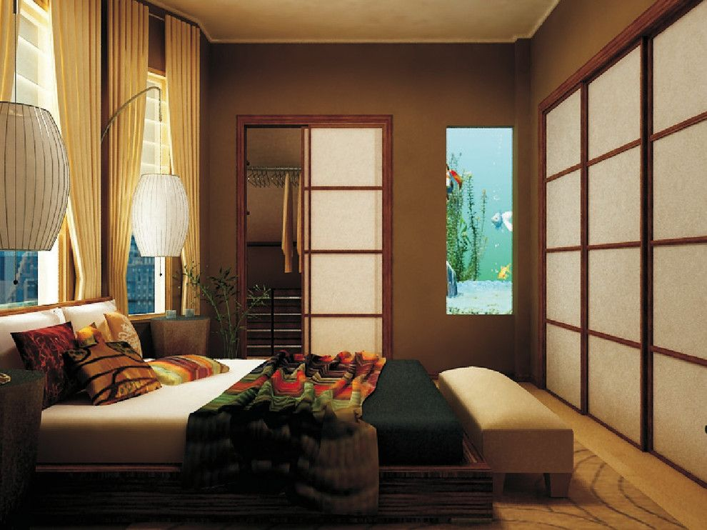 Zen Bedrooms for a Asian Bedroom with a Stripes and City Zen Space by Marie Burgos Design