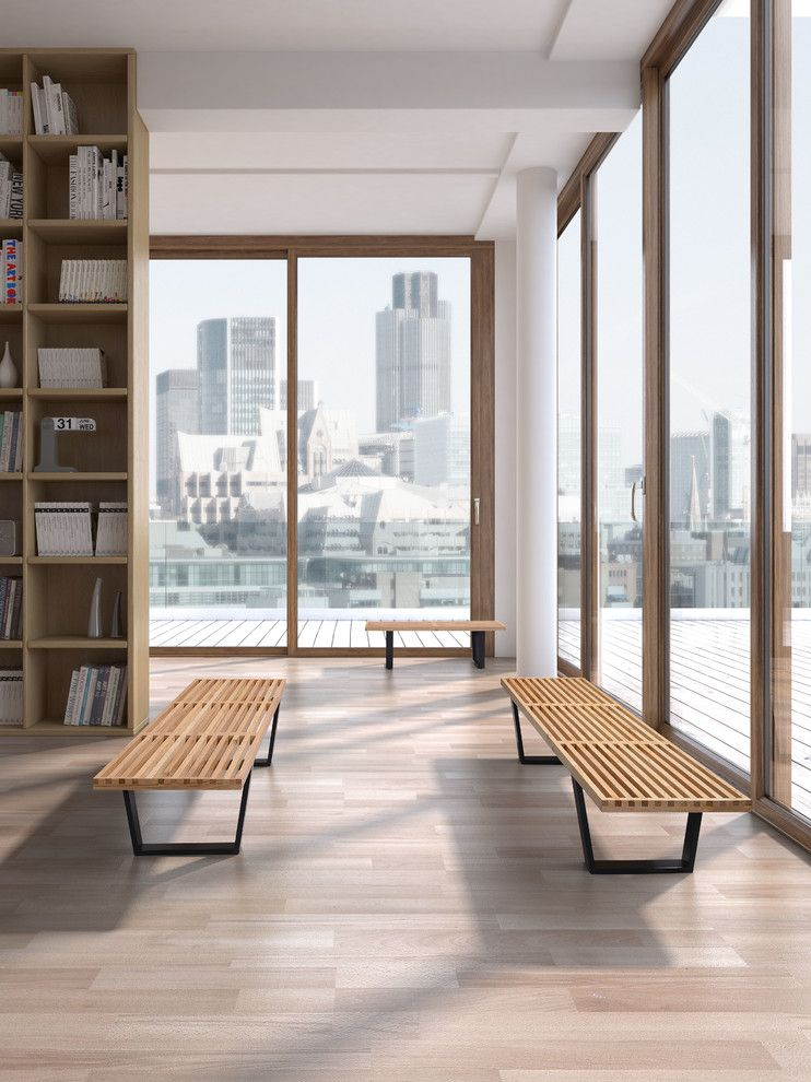 Zuomod for a Modern Living Room with a Heywood Double Bench and Heywood Double Bench by Zuo Modern by Cressina