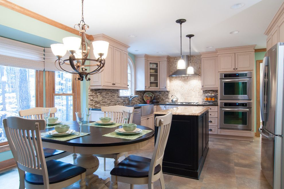 Adura for a Transitional Kitchen with a Kitchen Island and Durham Remodeled Kitchen by Sew Fine Ii Custom Window Treatments and Interiors