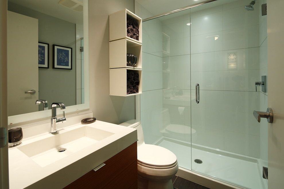 Allure Apartments for a Contemporary Bathroom with a Shower Enclosure and My First Place Studio Apartment, Calgary by I3 Design Group