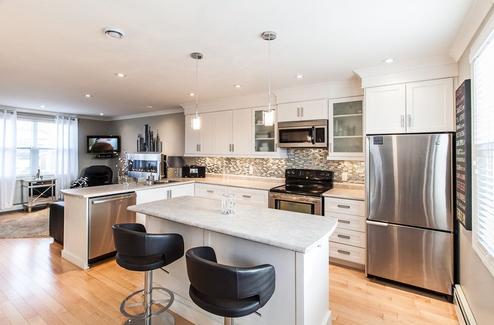 Allure Apartments for a Contemporary Kitchen with a Horizontal Fireplace and My Houzz: Open Concept Apartment Above Retail in Downtown St. John's by Becki Peckham