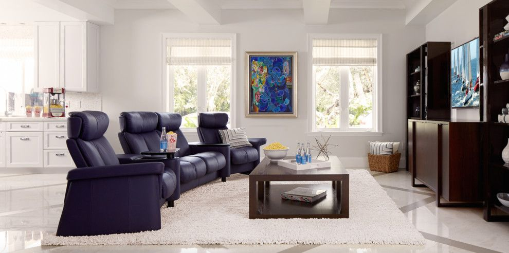 American Fork Theater for a Eclectic Home Theater with a Blue Sofa and Fun Family Media Room by Stressless
