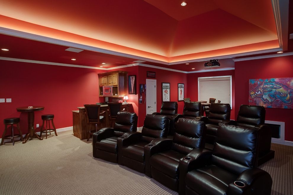 American Fork Theater for a Traditional Home Theater with a Recessed Lights and Home Theater Seating by Fx Pros, Llc