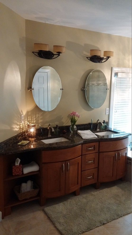 Apex Plumbing for a Traditional Bathroom with a Cherry Vanity and Verrilli by Designhouse Kitchen and Bath, Llc