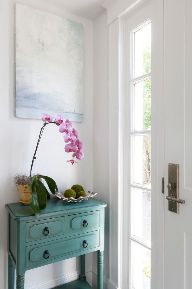 Ballard Hardware for a Beach Style Entry with a Entry Table and Rockport Beach House by Reiko Feng Shui Design