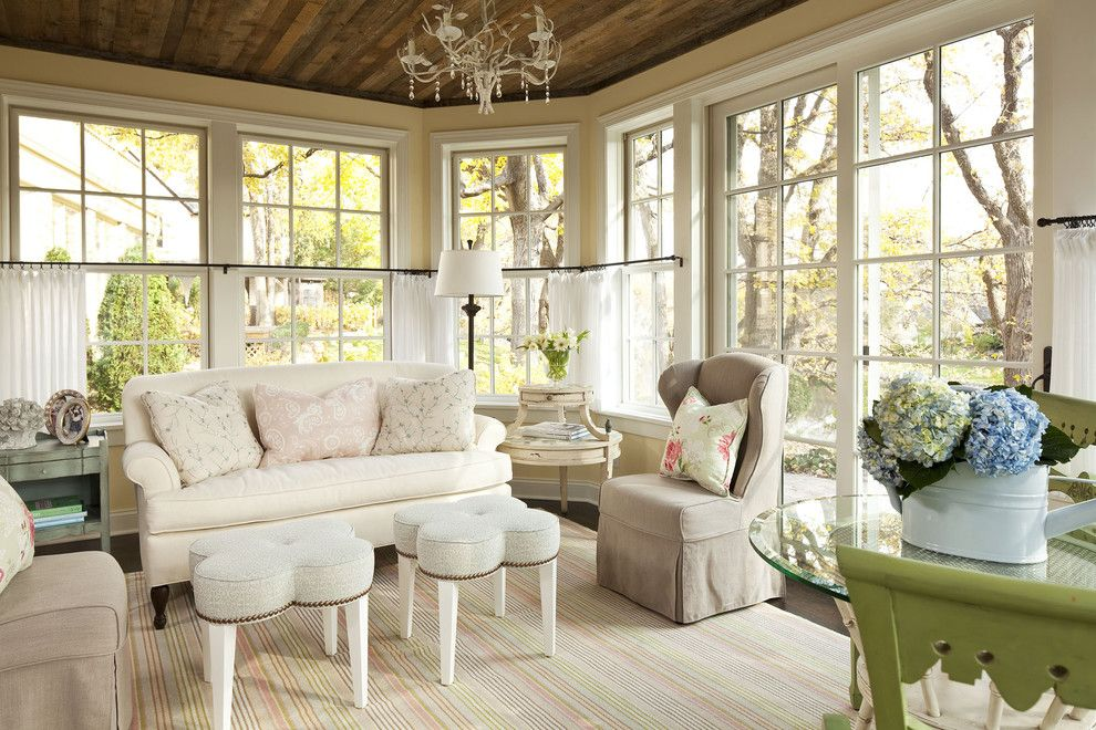 Ballard Hardware for a Shabby Chic Style Family Room with a Decorative Pillows and Sunnyside Road Residence Family Room by Martha O'hara Interiors