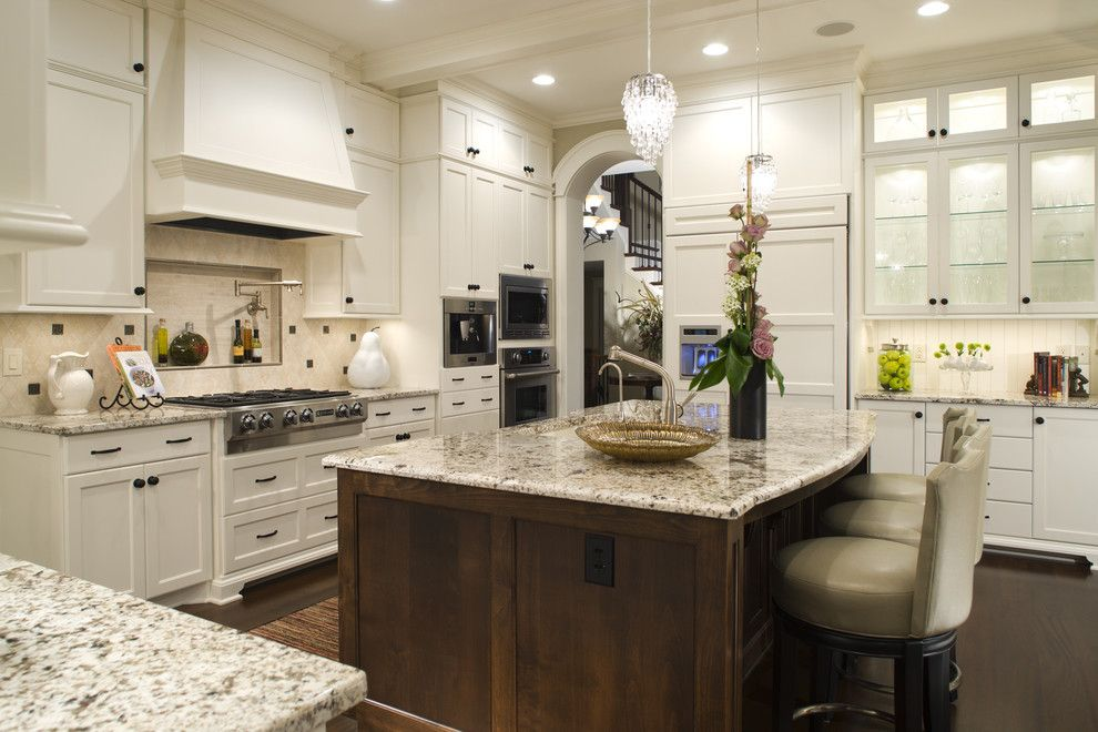 Ballard Hardware for a Traditional Kitchen with a Range Hood and Kitchen by Stonewood, Llc