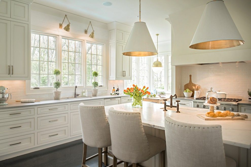 Ballard Hardware for a Traditional Kitchen with a Topiaries and Trimble Road by Allard Ward Architects