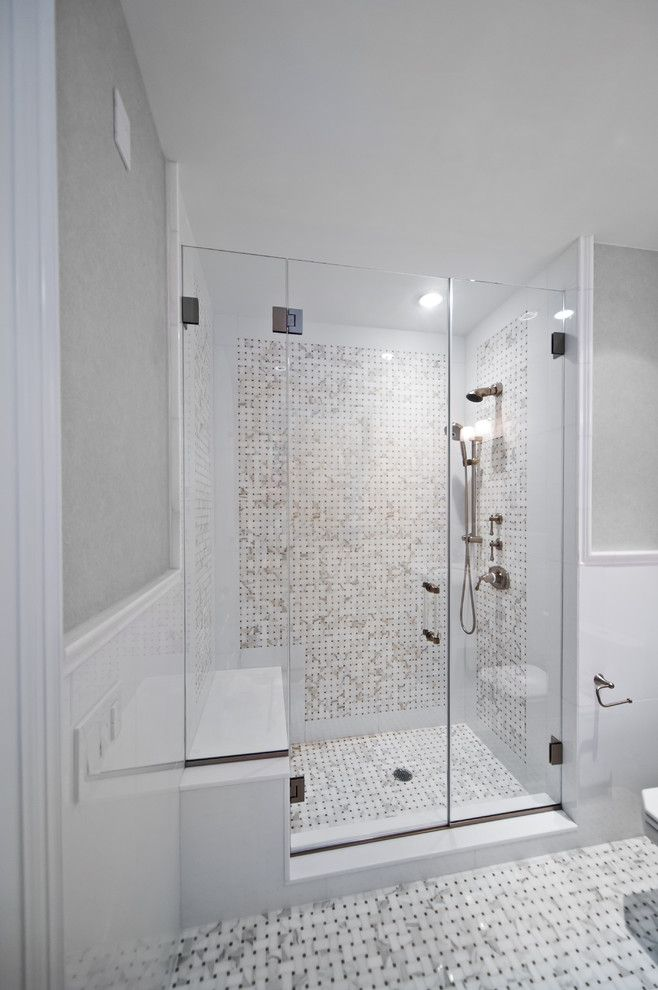 Bendheim Glass for a Beach Style Bathroom with a Marble and Beach House by New York Shower Door
