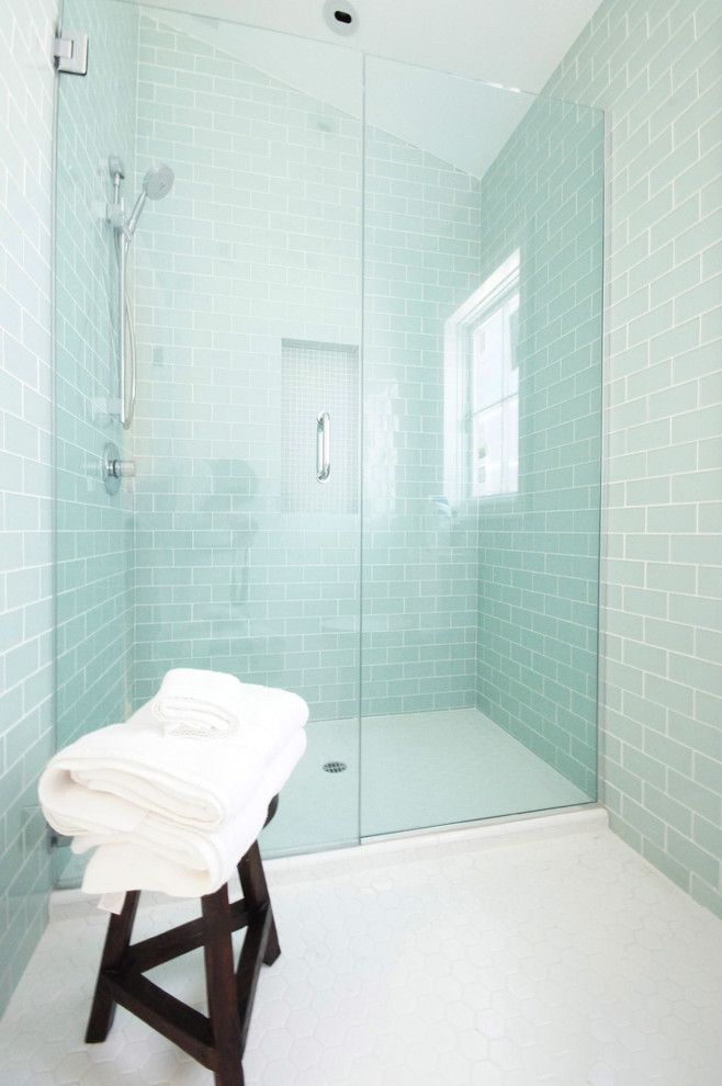 Bendheim Glass for a Contemporary Bathroom with a Aqua Tiles and Glass Tiled Bathroom by Courtney Blanton Interiors, Cid