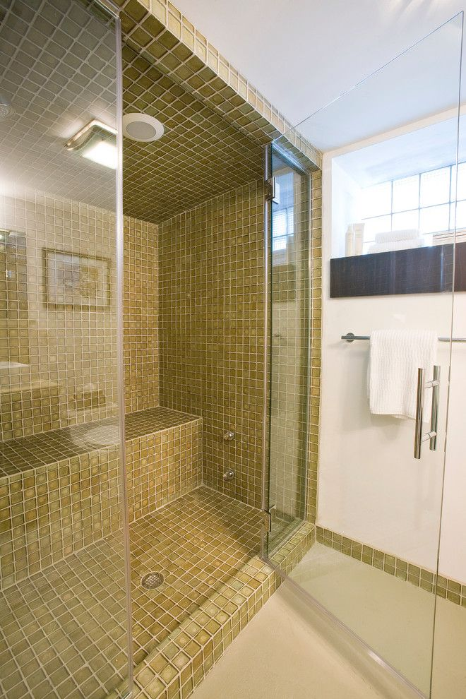 Bendheim Glass for a Contemporary Bathroom with a Built in Shower Bench and Duncan Avenue Basement Renovation by Ryan Duebber Architect, Llc