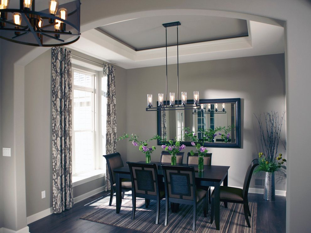 Bielinski homes for a transitional kitchen with a for Model home dining room