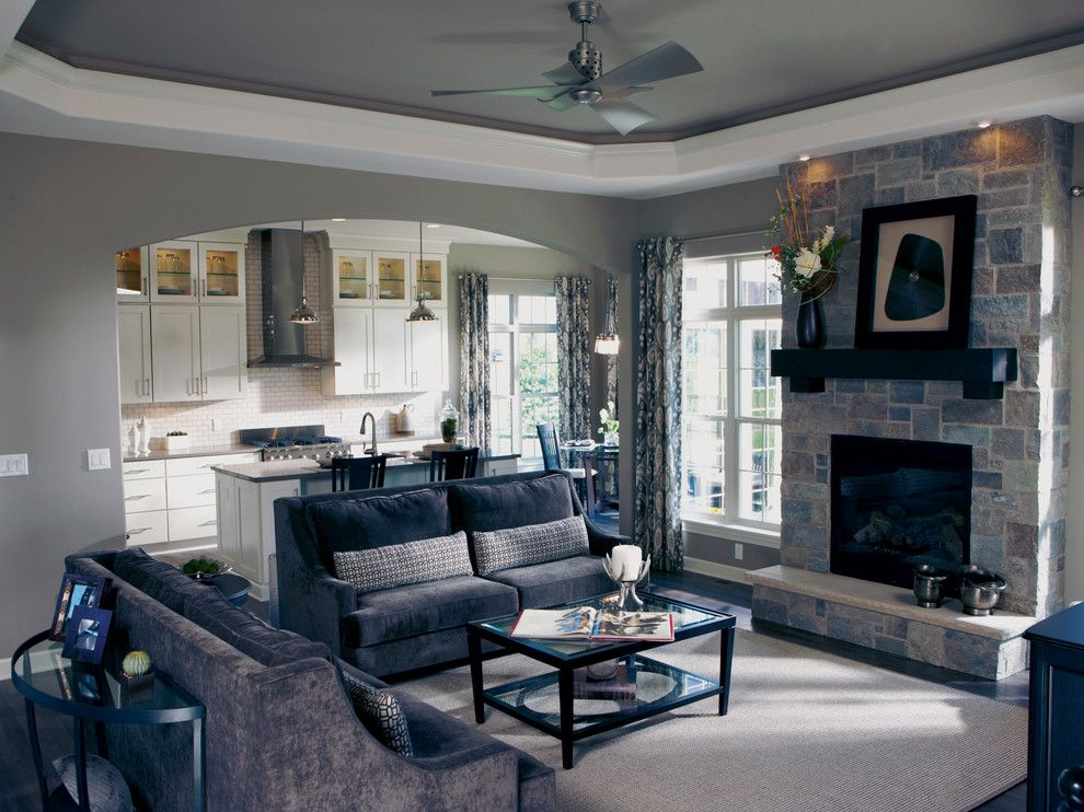 Bielinski Homes for a Transitional Living Room with a Painted Ceiling and the Independence, Plan 2200   Great Room & Kitchen by Bielinski Homes