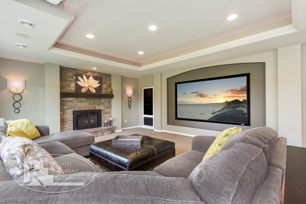 Bonney Lake Theater for a Contemporary Basement with a Ceiling and Shorewood Basement by Finished Basement Company