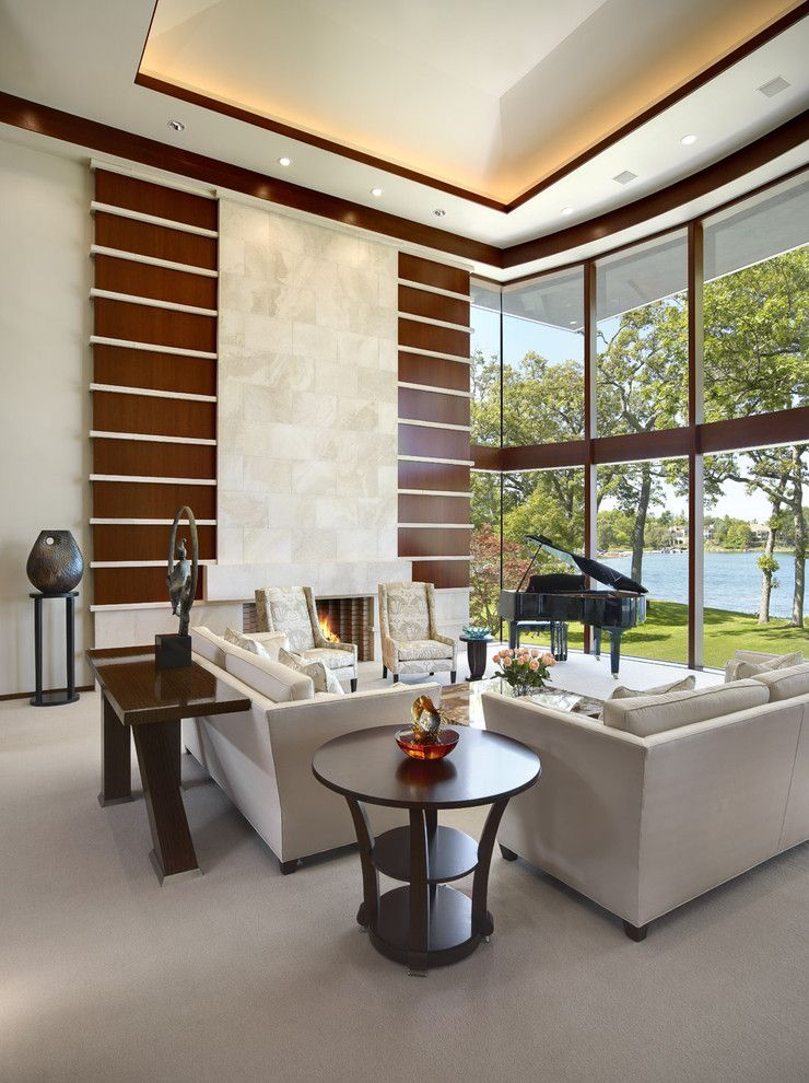 Bonney Lake Theater for a Contemporary Living Room with a Water View and Orchard Lake by Desrosiers Architects