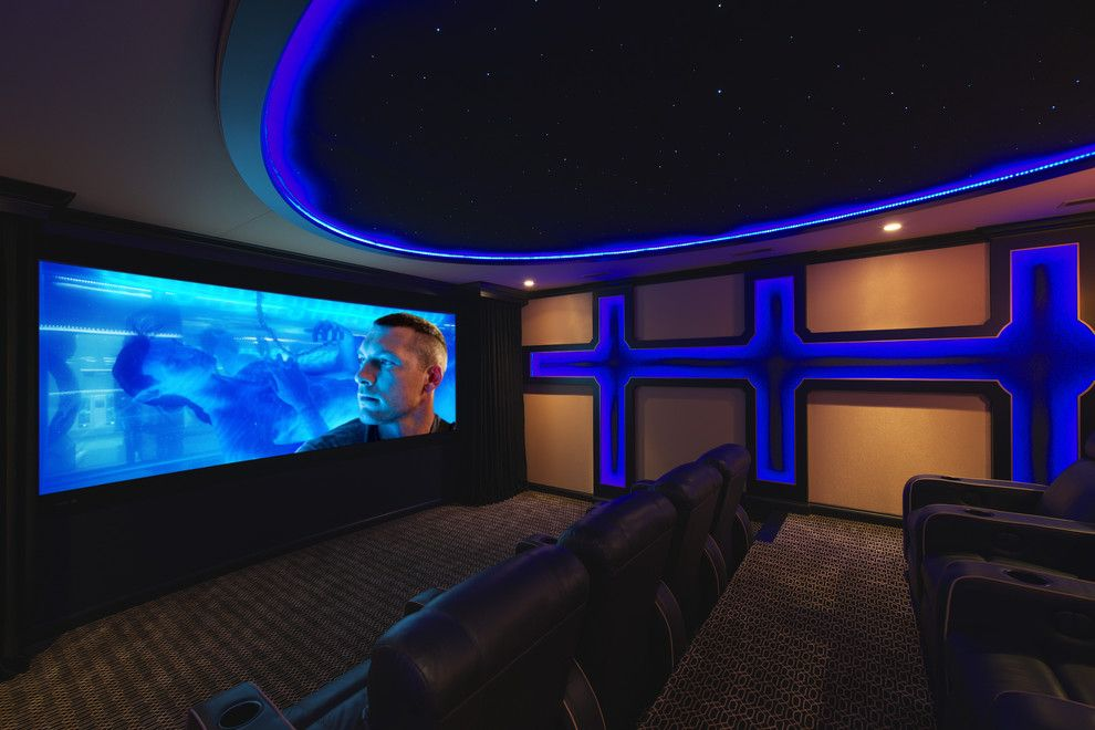 Bonney Lake Theater for a Eclectic Home Theater with a Eclectic and Maple Lake Theater by Blend Interior Design