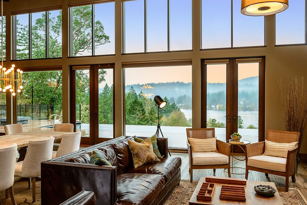 Bonney Lake Theater for a Transitional Living Room with a Upholstered Dining Chairs and Echo Lane by Joshua Lawrence Studios INC