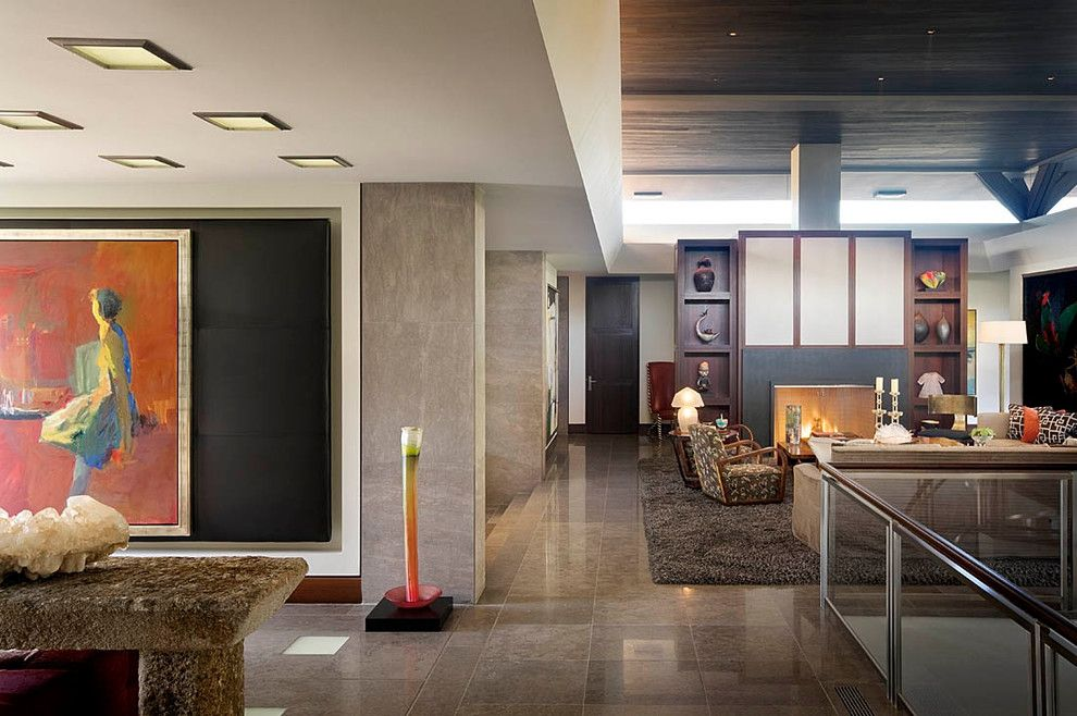Brownlee Lighting for a Contemporary Hall with a Fireplace and Modern Desert Home by Harte Brownlee & Associates Interior Design
