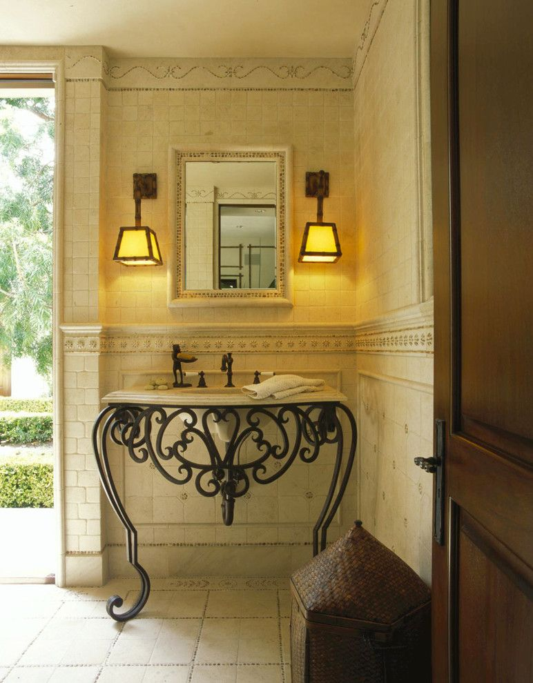 Brownlee Lighting for a Traditional Powder Room with a Interior Design Studio and Classic Traditional Residence by Harte Brownlee & Associates Interior Design