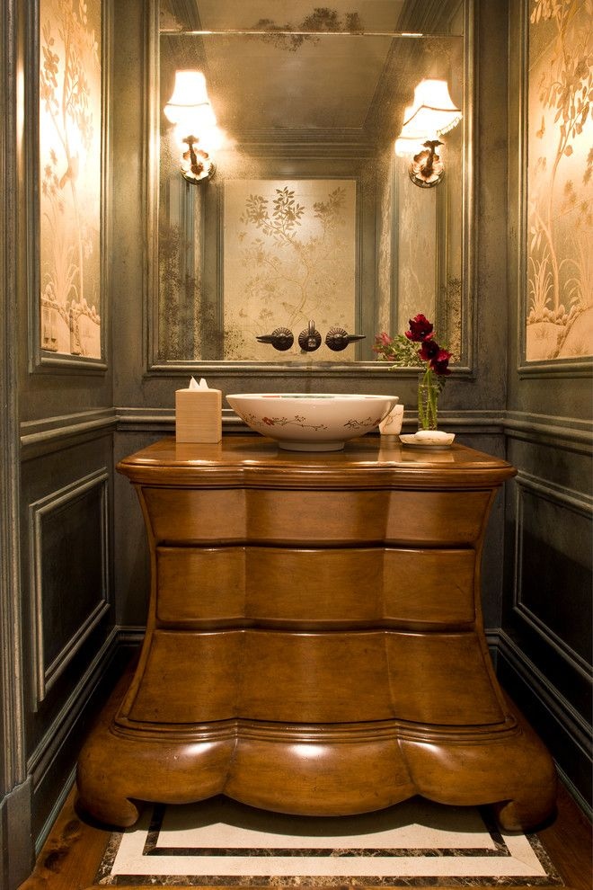 Brownlee Lighting for a Victorian Powder Room with a Newport Coast and Classic Traditional Residence by Harte Brownlee & Associates Interior Design