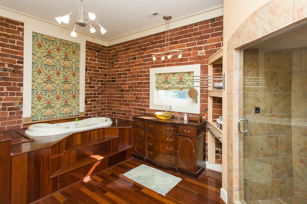 C Dan Joyner for a Eclectic Bathroom with a Master Bath and Renovation on the Square in Historic Laurens South Carolina by Susan Dodds/prudential C Dan Joyner