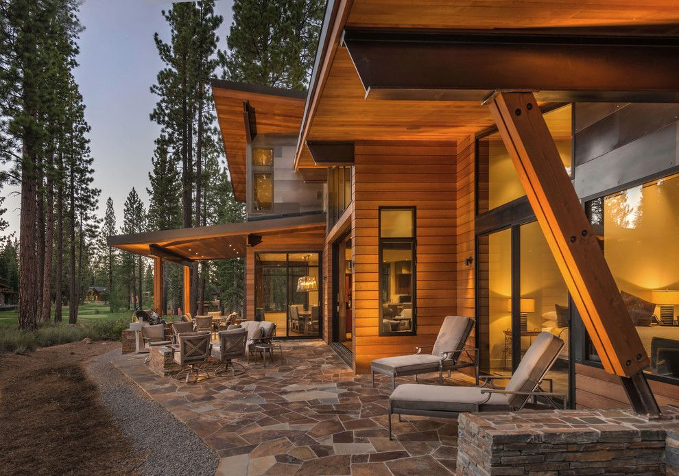 Capital Scrap Metal for a Contemporary Patio with a Wood Beam and Putter's Cabin by Ward Young Architecture & Planning   Truckee, Ca
