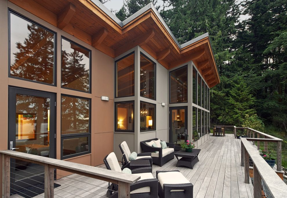 Casa Leaders Furniture for a Rustic Deck with a Corner Windows and Orcas Island 1,828 Sq Ft Fabcab by Fabcab