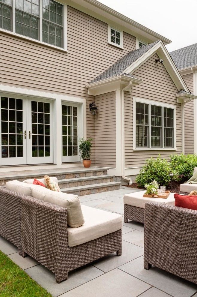 Casa Leaders Furniture for a Traditional Patio with a White Trim and Wellesley Master Plan by Nilsen Landscape Design, Llc