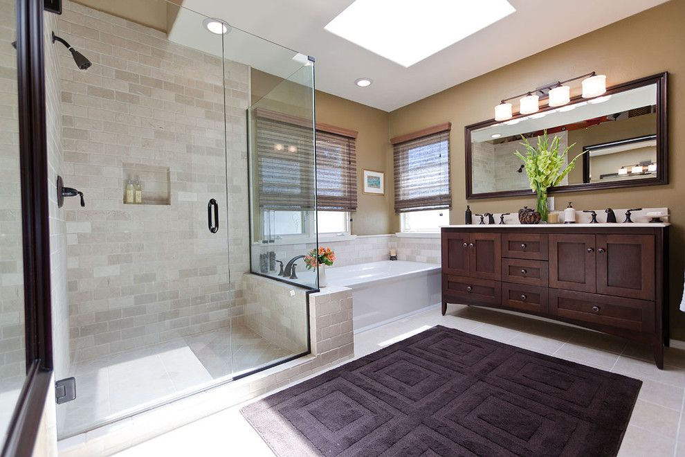 Ceramic vs Porcelain Tile for a Traditional Bathroom with a Double Vanity and Relaxing Space Traditional Bathroom Remodel by One Week Bath, Inc.