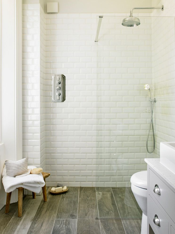 Ceramic vs Porcelain Tile for a Transitional Bathroom with a Walk in Shower and Surbiton by Leivars