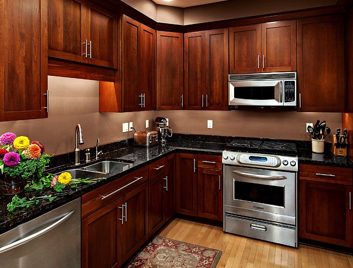 Cherrydale Hardware for a Contemporary Kitchen with a Cherry Cabinets and Cherry Kitchen Cabinets   Rockford Door Style   Cliqstudios by Cliqstudios Cabinets