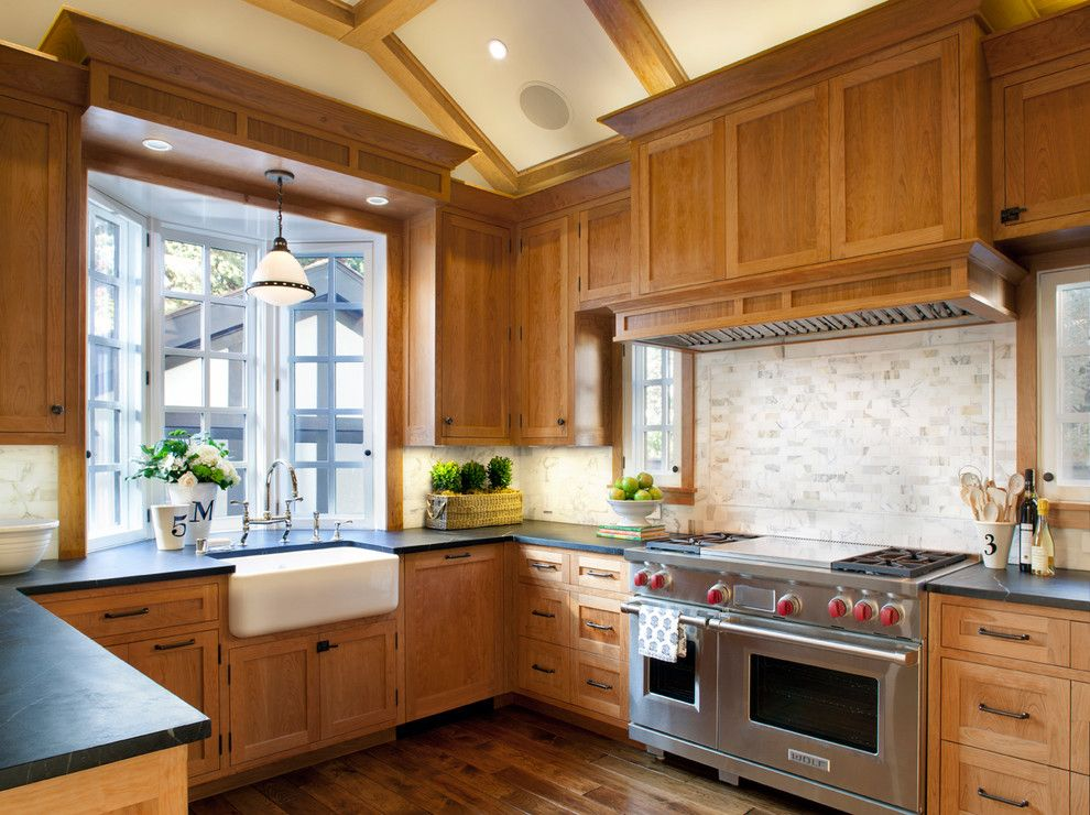 Cherrydale Hardware for a Traditional Kitchen with a Stove and Palo Alto Traditional by Scavullodesign Interiors