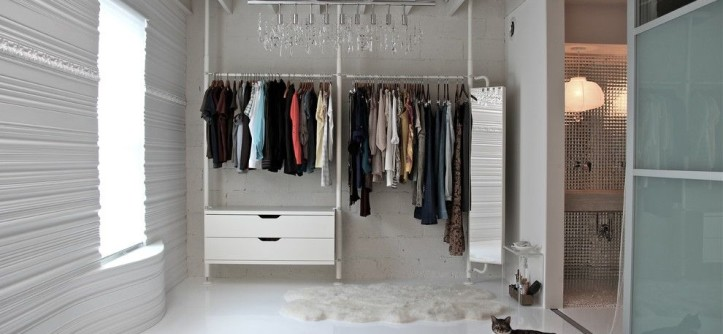 Cinder Block Wall for a Contemporary Closet with a Cinder Block Walls and Fit for a McQueen by Betty's Room, LLC