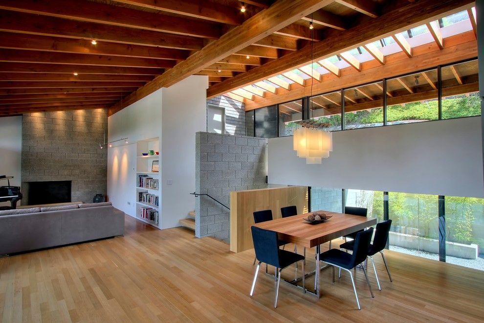 Cinder Block Wall for a Modern Dining Room with a Wood Ceiling and Hillside House   Dining by Renzo J Nakata Architects