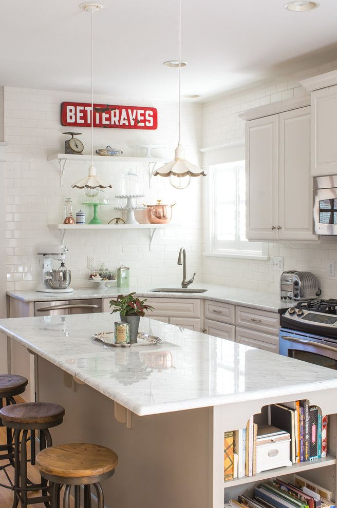 City Floral Denver for a Farmhouse Kitchen with a Bookshelf and Marion Street by Ejay Interiors