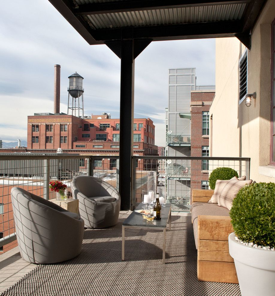 City Floral Denver for a Industrial Deck with a Potted Plants and City Loft by Griffith Interior Design Llc