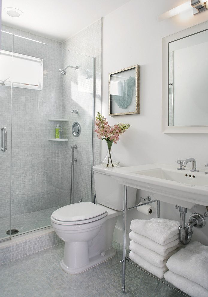 Clean Dishwasher Vinegar for a Beach Style Bathroom with a Shower Shelf and Bathroom by Sheila Rich Interiors, Llc